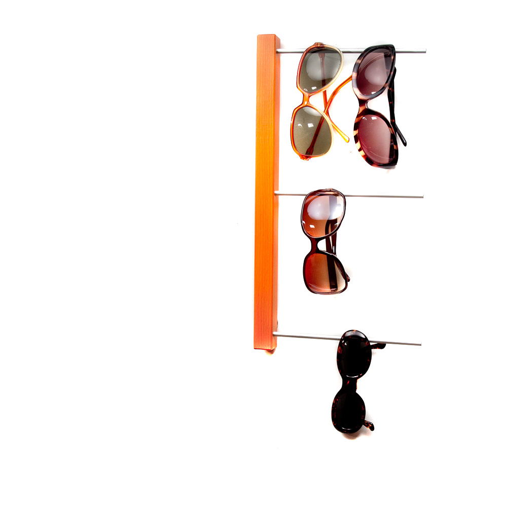 Aufbewahrung für Sonnenbrillen in orange mit 3 Stäben